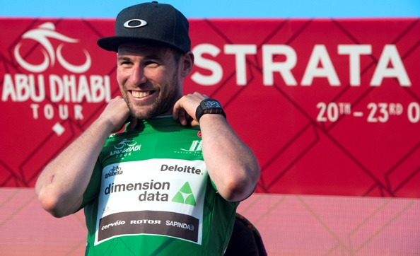 "UK rider Mark Cavendish of Dimension Data Team wearing Green Jersey on the podium of the 150 km ""Strata"" Third stage of Abu Dhabi cycling race from AlAlain to Jebel Hafeet, UAE, 22 October 2016. ANSA/CLAUDIO PERI"